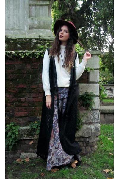 lace duster vintage jacket - maroon H&M hat - roll neck vintage sweater