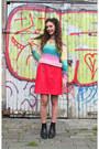 Denim-vintage-coat-choker-sassy-world-necklace-rainbow-h-m-sweatshirt