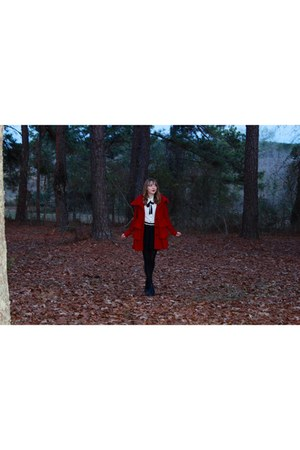red Velvet Heart jacket - black ankle Topshop boots - Forever 21 skirt