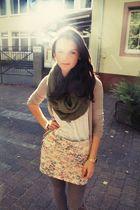 beige Primark skirt - green Topshop scarf