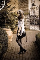black Heimstone skirt - gray bobi cardigan - black H&M shoes