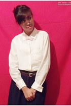 bag - skirt - top - earrings - stockings - belt