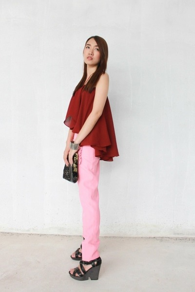 brick red chiffon Perestroika Clothing top