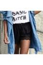 Denim-monki-coat-asos-shorts-nastygal-heels-hoes-out-t-shirt