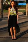 Black-mono-b-skirt-chartreuse-mono-b-blouse-bronze-unbranded-bracelet