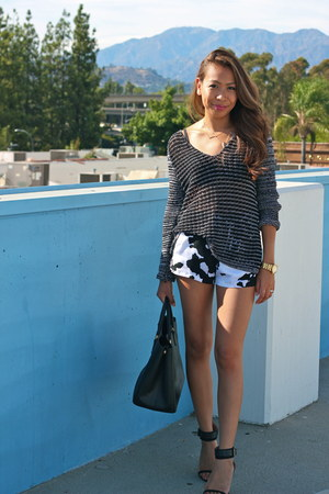 black Helmut Lang sweater - black Prada bag - white Zara shorts