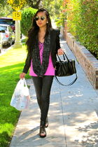 black Forever 21 blazer - pink Forever 21 shirt - black H&M shoes