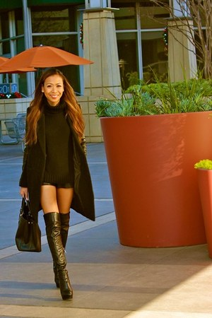 leather sleeves H&M coat - thigh high Guess boots - Prada bag