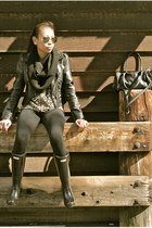 black rain boots Hunter boots - black H&M jacket - tan H&M blouse