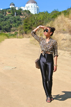leopard print H&M blouse - disco pants American Apparel pants - Forever 21 sanda