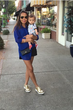 blue H&M shirt - gold Zara shoes - black Prada bag - black Lululemon shorts