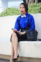 black Celine bag - black H&M skirt - black Zara pumps