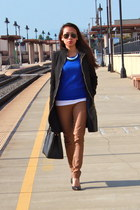 black Zara coat - blue Forever 21 sweater - black Prada bag - bronze BCBG pants