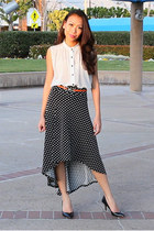 off white polka dot Jill Pineda blouse - black polka dot Jill Pineda skirt