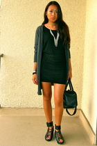 black H&M dress - gray H&M cardigan - black H&M shoes - black H&M purse