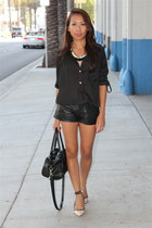 black faux leather H&M shorts - eggshell studded Ivanka Trump heels