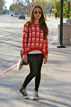 black zipper detail Zara leggings - red skull Stylists own sweater
