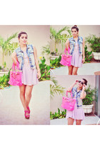 Bershka jacket - caruso dress - caruso bag - Bershka wedges