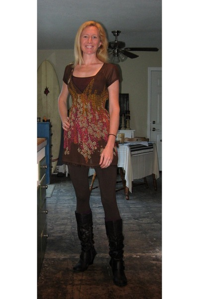 sheer dress - brown boots - tan sweater - brown leggings - maroon socks