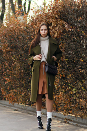 dark green asos coat - brown asos skirt