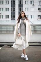 white Reiss skirt - silver Reiss sweater - white Adidas sneakers