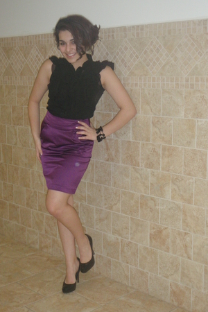 purple Forever21 skirt - black Miley Cyrus top - black Steve Madden shoes