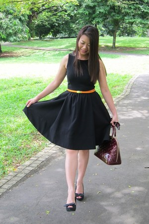 Zara dress - no brand belt - Louis Vuitton bag - Zara shoes