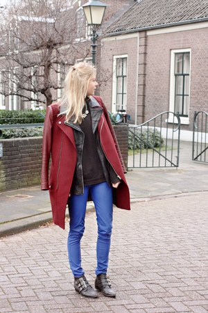 brick red coat - black vest
