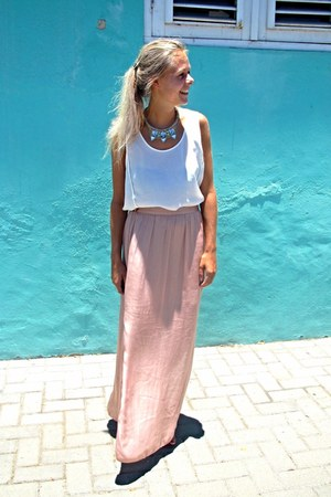 Light Pink Maxi Silk Skirt | Chictopia