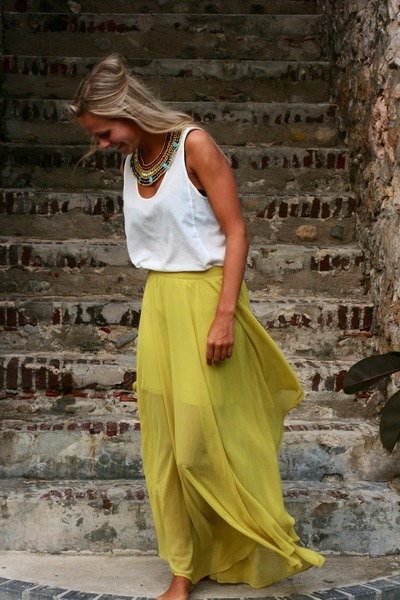 yellow bright yellow maxi skirt