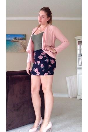 pink blazer - olive green Old Navy shirt - forest green skirt