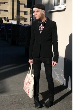 blazer - H&M hat - Fuzzy jeans - poco loco shirt - H&M shoes - hlens tie