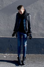Black-vintage-from-my-dad-jacket-black-din-sko-boots-blue-cheap-monday-jeans