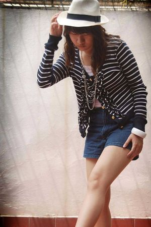 blue Zara cardigan - beige hat - blue Dolce&Gabbana shorts - white top