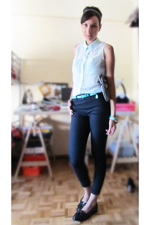 light blue H&M shirt - heather gray bag - black H&M pants
