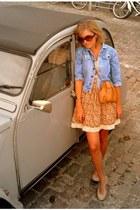 light orange GINA TRICOT dress - periwinkle Zara jacket