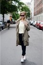 Light-brown-selected-coat-light-yellow-zara-blouse-dark-gray-h-m-pants