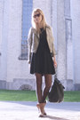 Burnt-orange-h-m-boots-black-gina-tricot-dress-beige-h-m-jacket