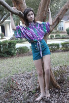 amethyst Good Time top - turquoise blue Good Time USA shorts