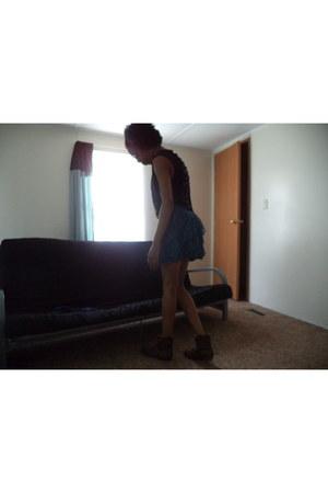 mini skirt Rue 21 skirt - brown Rainbows boots - black Rue 21 shirt