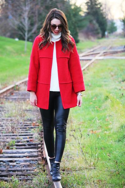 red wool gift coat - black leather winners leggings