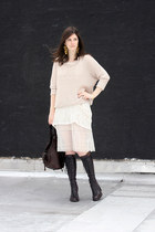 deep purple ann demeulemeester boots - white neesh dress - off white Dress & Co