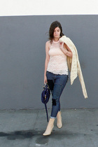 free people shirt - Pac Sun jeans - Miu Miu purse - vintage michel perry boots -