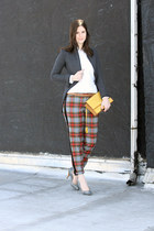 heather gray Rag and Bone jacket - mustard Zac Posen bag - maroon Jcrew pants -