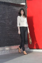 white silk blouse Jcrew blouse - beige coach shoes - blue Hudson jeans