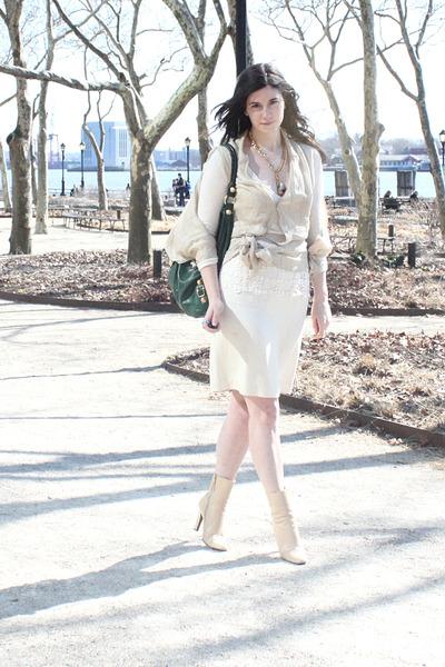 beige Stella McCartney blouse - white Theory sweater - white vintage skirt - bei
