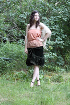 beige vintage shirt - green Joie skirt - white Urban Outfitters scarf - purple Y