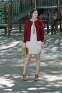 Red-oscar-de-la-renta-jacket-white-gap-dress-brown-chloe-shoes-yellow-zac-