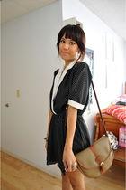 black dress - brown Guess purse - black Deena & Ozzy shoes