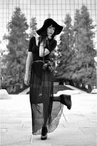 black wool floppy hat American Apparel hat - black vintage skirt - black jersey